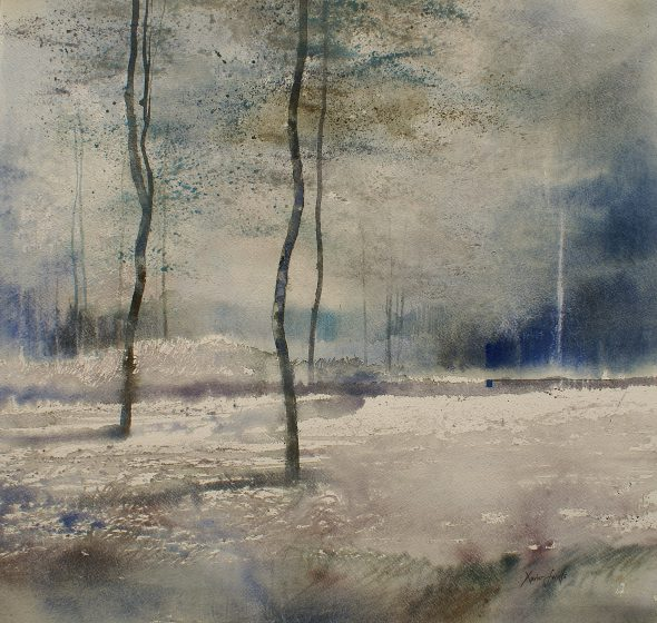 Wintersfeer. Ambiance d'hivers. Fabriano 325g - Ft.54x54cm