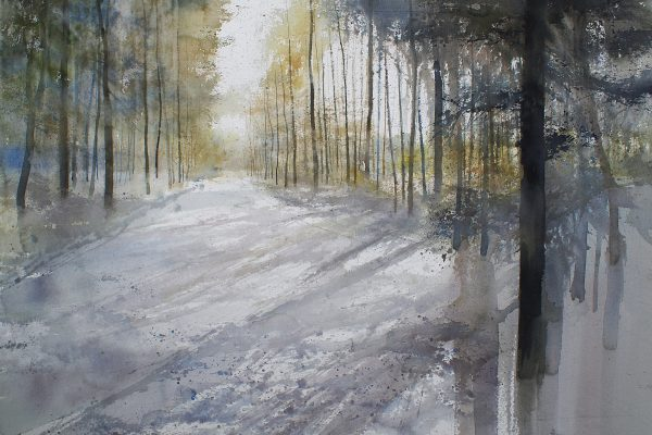 Winterzon -Zoersel bos Soleil d'hivers (Zoersel) Arches 635g. Ft. 120x75cm