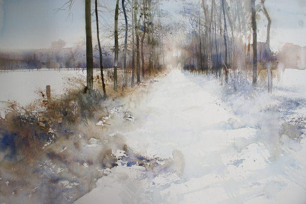 Zoerselbos in het wit. Bois de Zoersel en blanc. Fabriano 635g. - 76x56cm