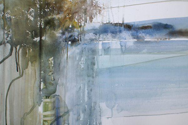 Langs het water... Le long de l'eau.... Cardboard 1200g. - 76x56cm