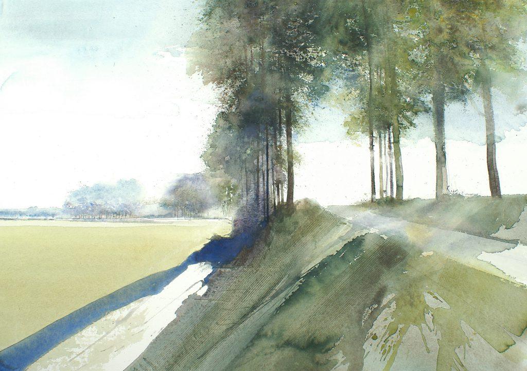 Polderlandschap - Zeeuws-Vlaanderen Les Polders en Hollande Fabriano 635g  -Ft.76x56cm