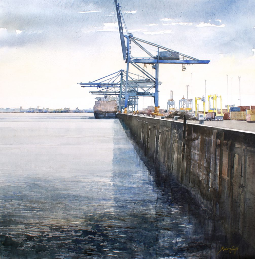 De haven van Antwerpen. Le port d'Anvers. Aqualinne - Ft.100x100cm