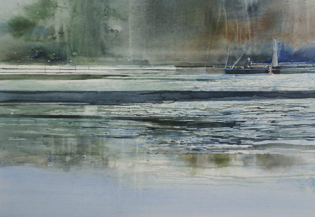 Met de stroom mee.... (De Somme) Emporté par le courant....(La Somme) Fabriano 635g. - 76x56cm