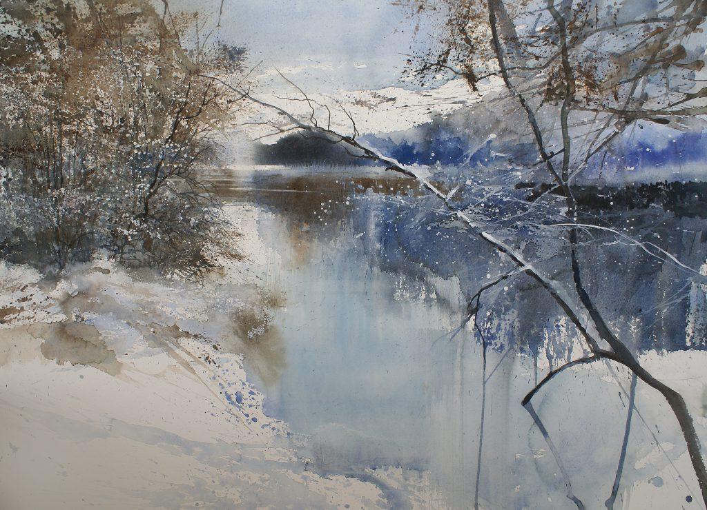 Winter in Zoersel bos. Hivers dans les bois de Zoersel. Arches 635g. - Ft.76x56cm