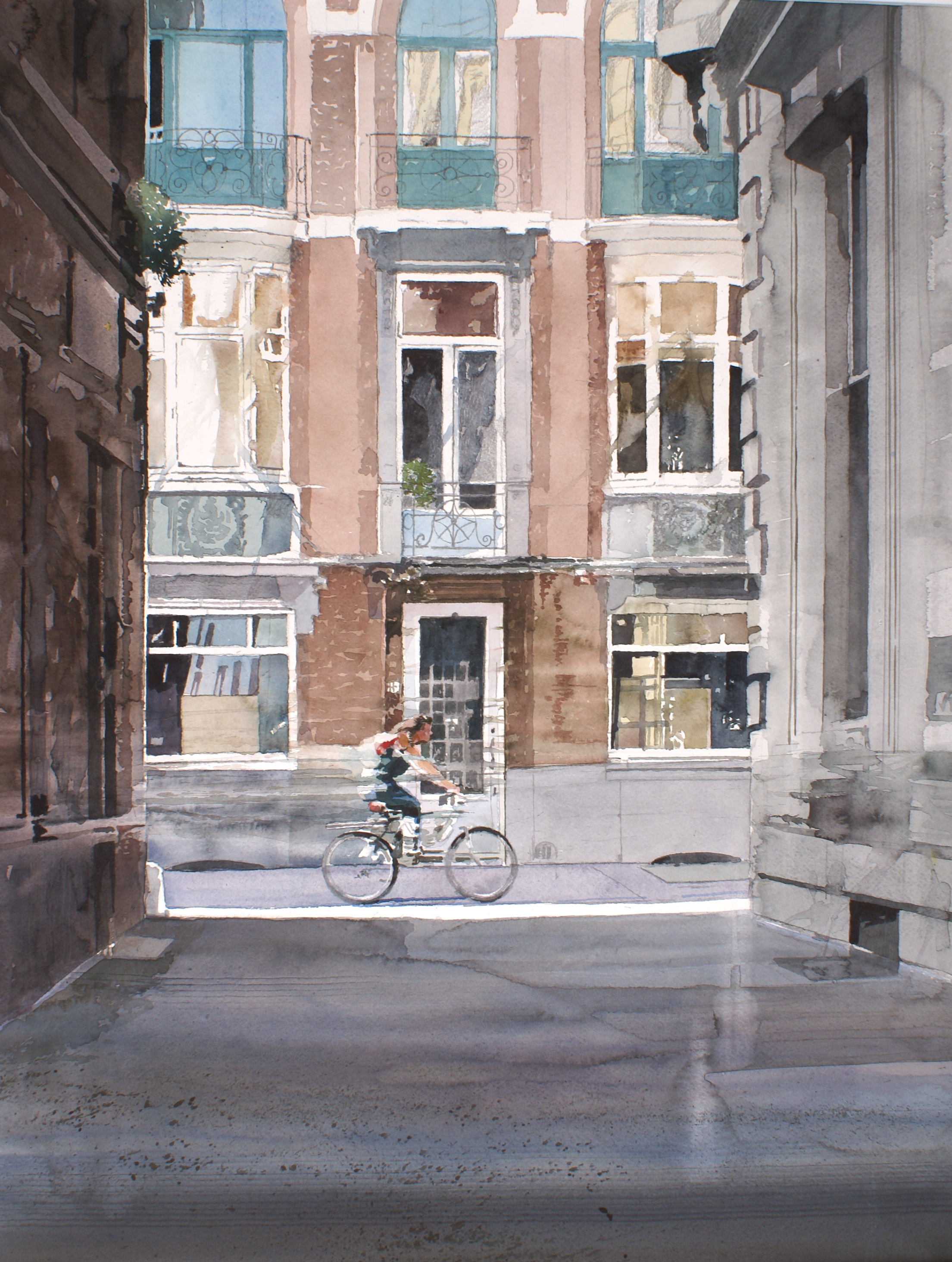 Zonnige gevel in de Wijngaardstraat Antwerpen : Xavier Swolfs