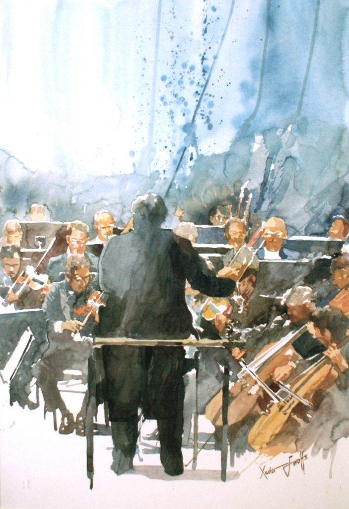 Orkestleider. Le chef d'orchestre. Cardboard 1200g- Ft.76x56cm