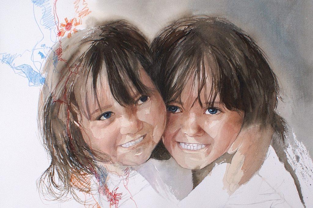 Jade & Margaux. Mes jumelles Cardboard 1200g - Ft.76x56cm