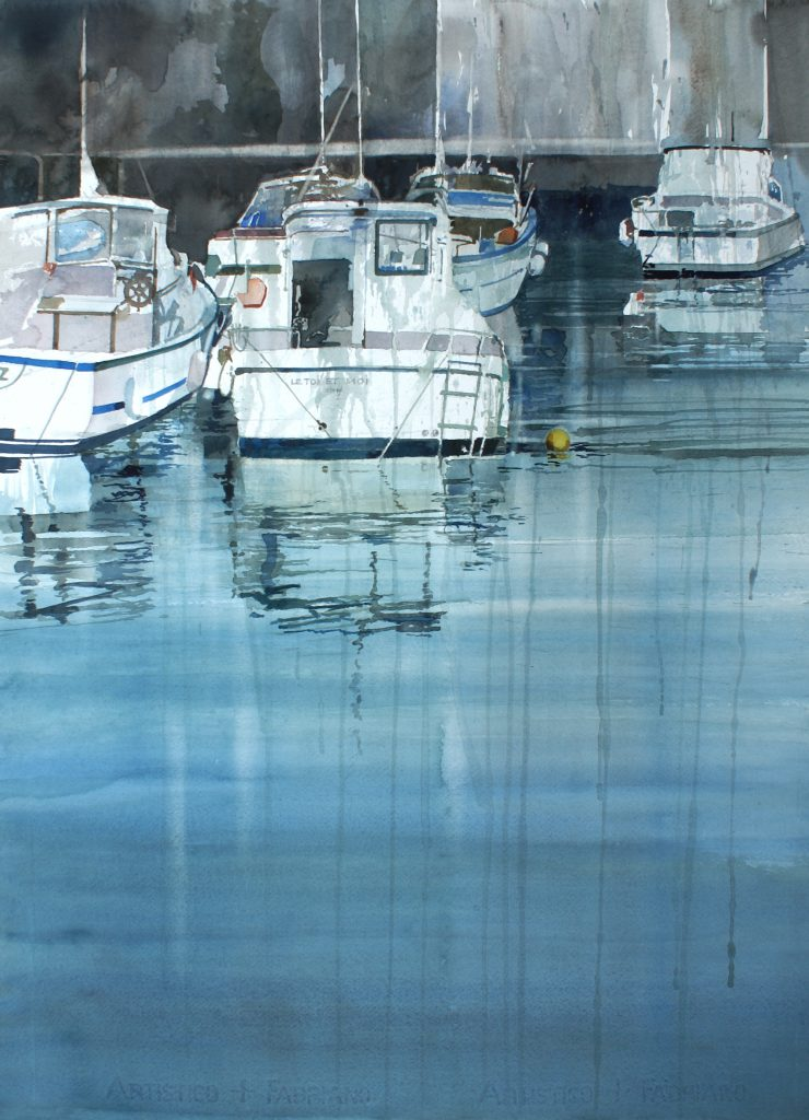 Haven in Biarritz. Port à Biarritz. Cardboard 1200g - Ft. 76x56cm