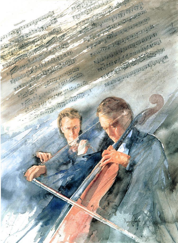 Cello concert. Arches 635g-  Ft.76x56cm